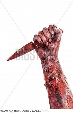 Undead Hand Attacking With Knife, Assassin, Bloody Monster, Isolated White Background.