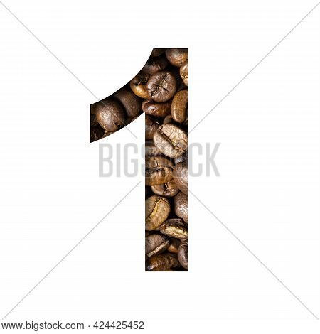 Coffee Beans Font. The Digit One, 1 Is Cut Out Of Paper On The Background Of Roasted Beans Of Excell