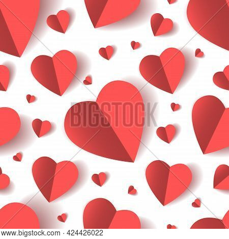 Folded Paper Hearts Seamless Pattern. Heart Shapes Decorations Wallpaper, White Red Love Valentine C