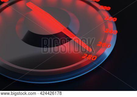 3d Illustration Close Up Black Car Panel, Digital Bright Tachometer, Speedometer Shows 280 Km H. Spe
