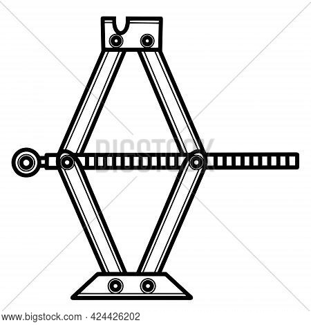 Jack Vector Icon. Isolated Illustration On A White Background. Jack Outline. Screw Jack Sketch. Mech