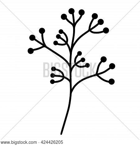 Vector Icon Sprig With Berries. Botanical Element Isolated On White Background. Hand-drawn Black Doo