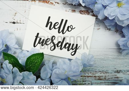 Hello Tuesday Card With Blooming Flower On Wooden Background