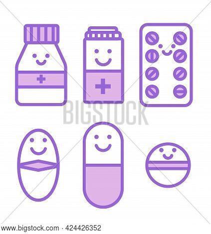 Set Of Funny Pills And Medicaments Isolated On White