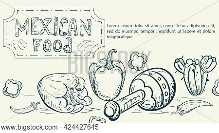 Illustration Sketch Made In The Style Of A Doodle Hand Drawn For A Design On The Theme Of Mexican Na