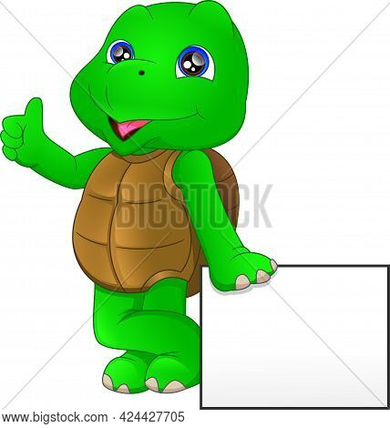 Cute Green Turtle Cartoon With Blank Sign On A White Background