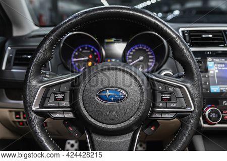 Novosibirsk, Russia - June 19, 2021: Subaru Legacy, Steering Wheel With  Logo    And  Speedometer An