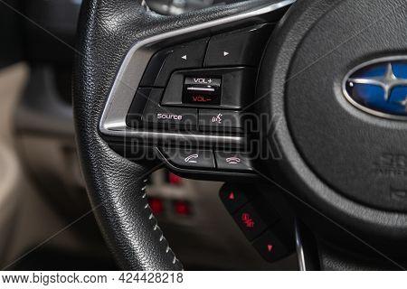 Novosibirsk, Russia - June 19, 2021: Subaru Legacy, Black Steering Wheel With Multifunction Buttons