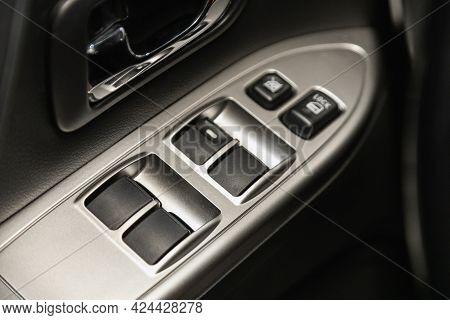 Novosibirsk, Russia - June 19, 2021: Mitsubishi Pajero,  Close Up Of A Door Control Panel In A New C