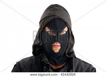 Aggressive masked figure ready to commit crimes