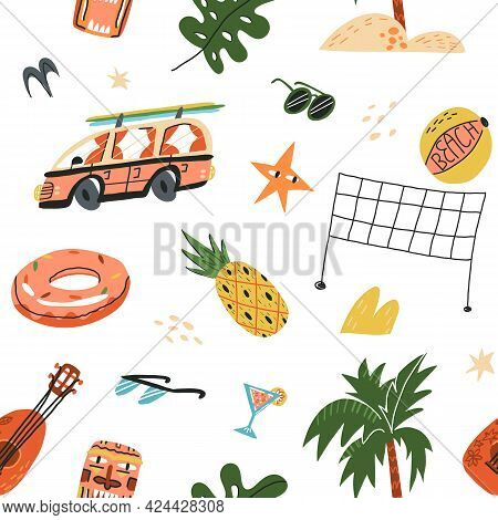 Hawaiian Summer Vacation Seamless Pattern. Palm Tree, Retro Bus With Surfboards, Tiki Mask, Ukulele,