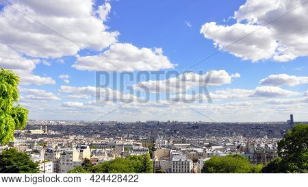 Panorama View Of The City Landscape. Panoramice View Of Cloudy Skyline Over The City.