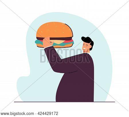 Tiny Fat Man Holding Hamburger Flat Vector Illustration. Obesity, Fast Food, Bad Habit Concept For B