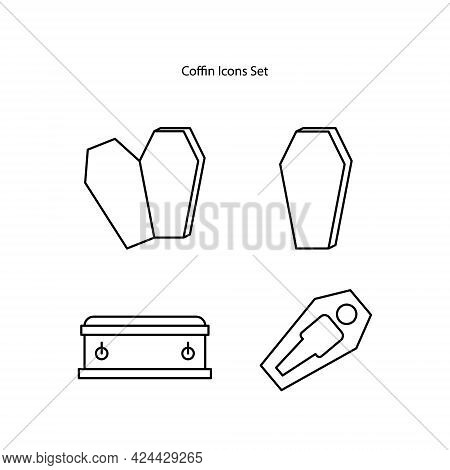 Coffin Icon Isolated On White Background. Coffin Icon Thin Line Outline Linear Coffin Symbol For Log
