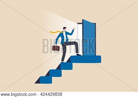 Open New Opportunity Door, Career Development Or Business Decision For New Challenge, Success And Ac