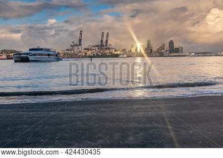 Auckland New Zealand - June 17 2021; View Of Auckland City Buildings And Skyline From Across Harbour