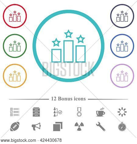Ranking Outline Flat Color Icons In Circle Shape Outlines. 12 Bonus Icons Included.