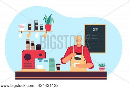 Male Barista Making Espresso At Coffee Station. Happy Man Wearing Apron, Pouring Coffee Into Mug Fla