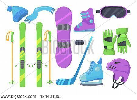 Set Of Winter Sports Equipment. Cartoon Vector Illustration. Hat, Scarf, Gloves, Helmet, Skis, Ski P