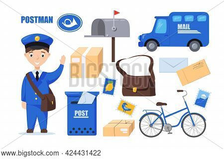 Postman Character For Kids Vector Illustrations Set. Cartoon Character In Uniform With Postal Bag, M