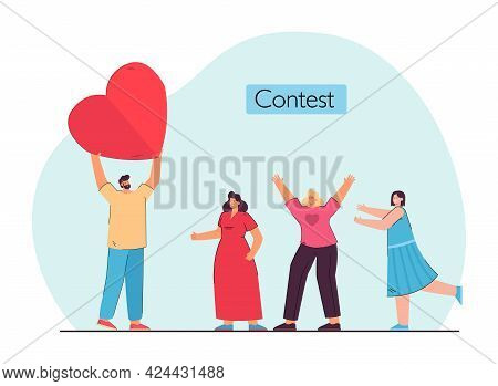 Man Holding Heart, Choosing Between Several Lovers. Girls Liking One Man Flat Vector Illustration. C