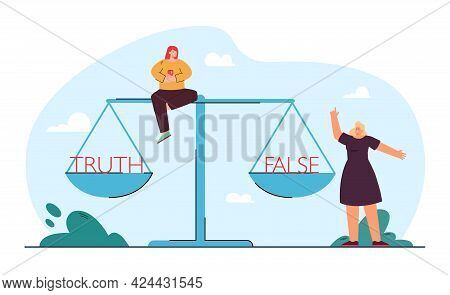 Tiny Girls Choosing Between False And Truth. Truth And False On Huge Scales Flat Vector Illustration