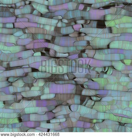 Distorted Spot Blotch Effect Seamless Pattern. Vibrant Boho Organic Shape Texture. Painterly Trendy