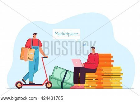 Man Making Online Order On Marketplace Flat Vector Illustration. Courier Delivering Order On Scooter