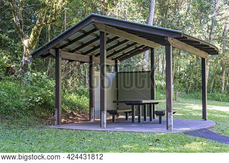 A Picnic Shelter In A National Park Bushland Setting For Tourists To Rest And Relax
