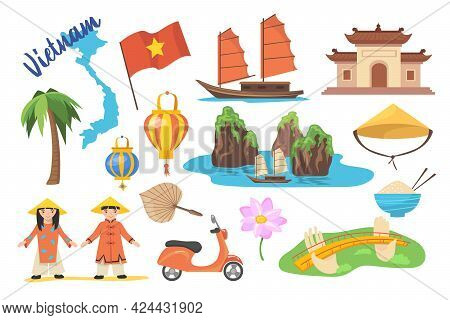 Traditional Symbols Of Vietnam Cartoon Vector Illustration. Vietnamese Flag, Lotus Flower, Hat, Pape
