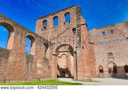 Bad Dürkheim, Germany - April 2021: Ruin Of Limburg Abbey In Palatinate Forest