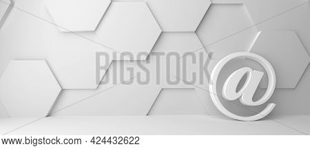 Fine 3d Concept With A White @ (at) Icon In A Modern White Hexagon Room With Space For Text