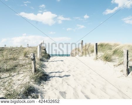 Beautiful Pathway To The Beach On A Sunny Winter Day, Baltic Sea