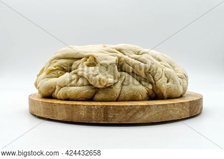 Homemade Leavened Dough For Bread And Pizza, Isolated On White Background
