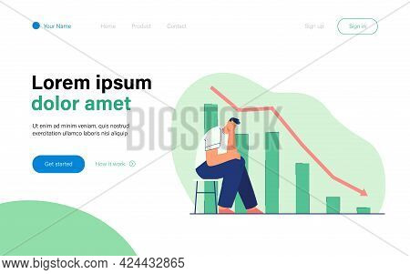 Sad Man Worrying About Financial Crisis. Flat Vector Illustration. Disappointed Businessman Sitting