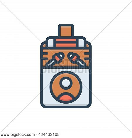 Color Illustration Icon For Press Clamp Stifle Depress Squeeze Straining