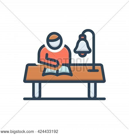 Color Illustration Icon For Study Perusal Read Learn Cognize Understand