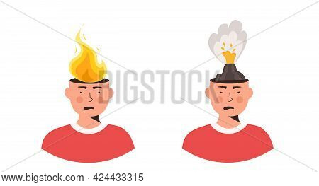 Set Of Male Characters Head In Fire Vector Flat Illustration. Man Or Woman Feeling Stress At Work, A