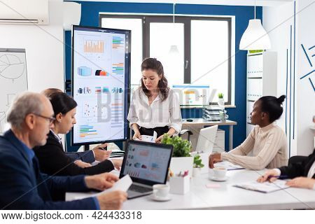 Mad Startup Business Owner Nervous Screaming At Diverse Associates Or Colleagues In Briefingroom. Bu