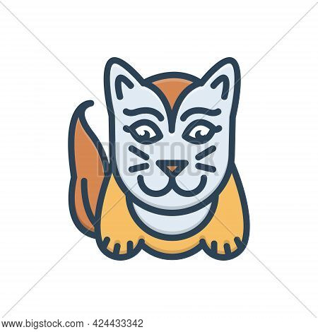 Color Illustration Icon For Cute Lovable Sweet Charming Likable Cat
