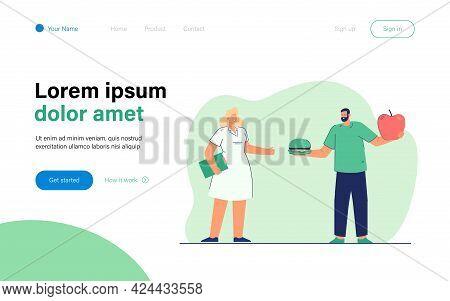 Man Choosing Between Junk And Healthy Food. Flat Vector Illustration. Cartoon Man Holding Giant Appl