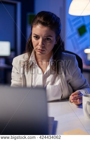 Pov Of Businesswoman Looking In Camera During Online Videocall Conference, Talking With Teamates For