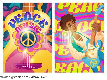 Peace Music Posters With Hippie Sign And Man With Guitar. Woodstock Festival Style. Vector Flyers Wi