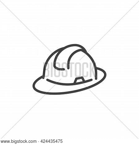 Hard Hat Line Icon. Linear Style Sign For Mobile Concept And Web Design. Safety Helmet Outline Vecto