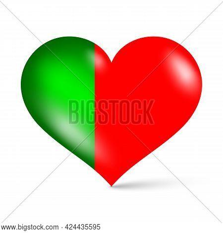 3d Glossy Heart Shape National Flag Of Portugal Vector Illustration