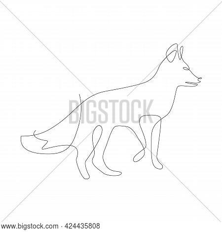 Fox Simple Illustration. One Line Graphic. Continuous Line Minimalistic Vector. Fox Line Art, Wild A