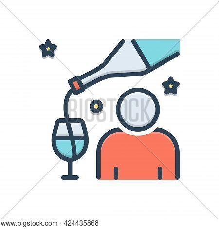Color Illustration Icon For Impair Harm Undignified Drunkard Boozer
