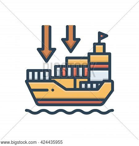 Color Illustration Icon For Importers Import-goods Shipping Transport Carriage Ship