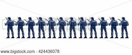 Police In Riot Gear Holding The Line. Group Riot Police With Protective Gear And Shields. Cartoon Ch