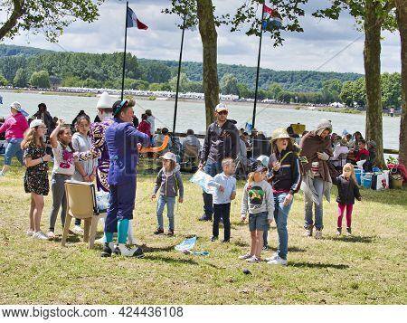 Yainville, France - July, Circa, 2019. Sailboats Fans Enjoy Big Outdoor Entertainment Event. Open Ai